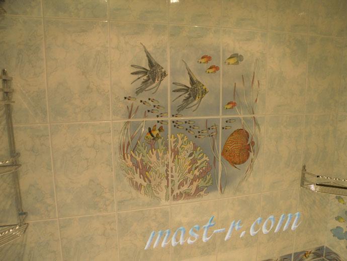 дизайн ванной комнаты, ремонт ванной комнаты панно из плитки